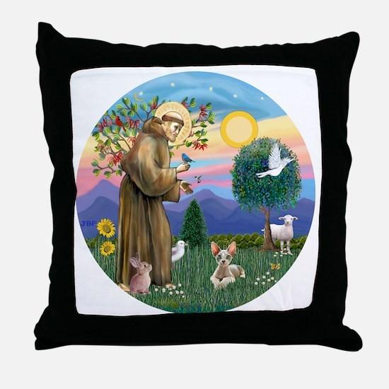 St Francis - Sphynx cat Throw Pillow