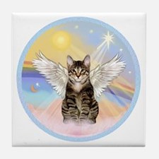 Clouds - Tabby cat angel Tile Coaster