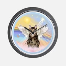 Clouds - Tabby cat angel Wall Clock