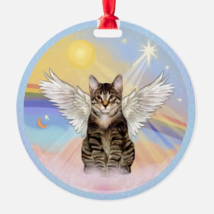 Clouds - Tabby cat angel Ornament