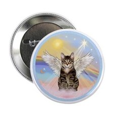 """Clouds - Tabby cat angel 2.25"""" Button"""