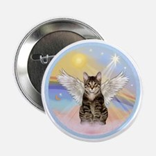 "Clouds - Tabby cat angel 2.25"" Button"