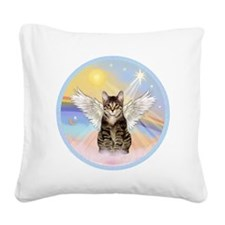 Clouds - Tabby cat angel Square Canvas Pillow
