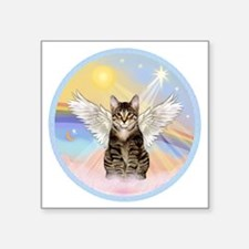"""Clouds - Tabby cat angel Square Sticker 3"""" x 3"""""""