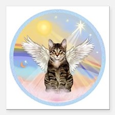 """Clouds - Tabby cat angel Square Car Magnet 3"""" x 3"""""""