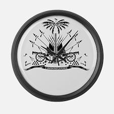 Haiti Coat Of Arms Large Wall Clock