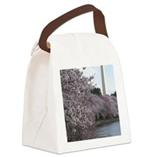 Peal bloom cherry blossom frames  Canvas Lunch Bag