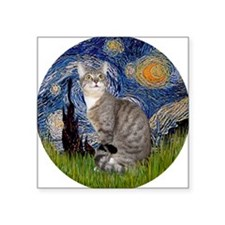 """Starry - Tabby and white ca Square Sticker 3"""" x 3"""""""
