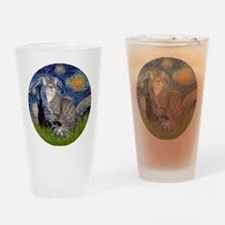 Starry - Tabby and white cat Drinking Glass