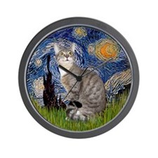 Starry - Tabby and white cat Wall Clock