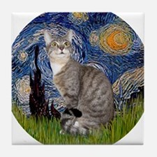 Starry - Tabby and white cat Tile Coaster