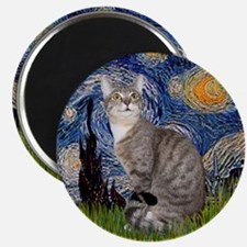 Starry - Tabby and white cat Magnet