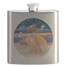 X Angel-Orange Tabby cat Flask