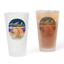 X Angel-Orange Tabby cat Drinking Glass