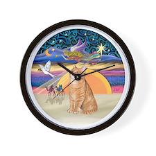 X Angel-Orange Tabby cat Wall Clock