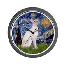 Starry Night - Siamese Cat (LilacPt) Wall Clock