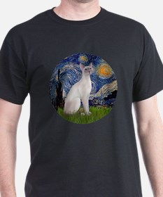 Starry Night - Siamese Cat (LilacPt) T-Shirt