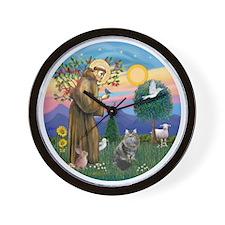St Francis - Siberian Cat Wall Clock