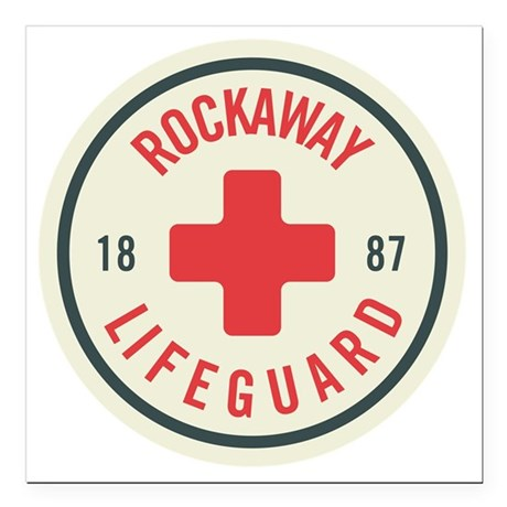 "Rockaway Lifeguard Patch Square Car Magnet 3"" x 3"""