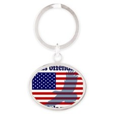 Flag  Eagle Patriot Oval Keychain