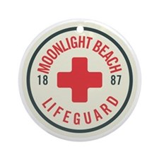 Moonlight Beach Lifeguard Patch Round Ornament