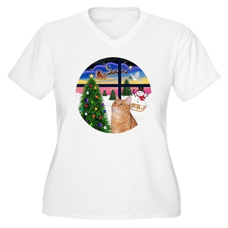 X Window - Orange Women's Plus Size V-Neck T-Shirt