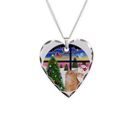 X Window - Orange Tabby 46 Necklace Heart Charm