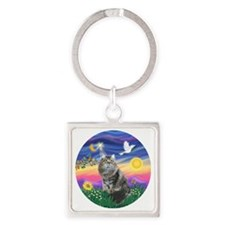 Twilight - Silberian cat Square Keychain