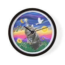 Twilight - Silberian cat Wall Clock