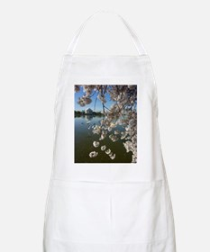 Seagulls Fly Under Peal bloom cherry blossom Apron