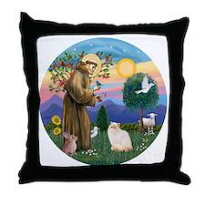 St Francis - Himalayan (Flame Pt) Throw Pillow