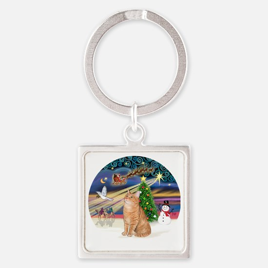 X Magic - Orange Tabby 46 Square Keychain