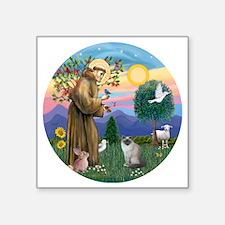 """St Francis - Birman Cat Square Sticker 3"""" x 3"""""""