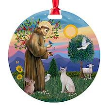 St Francis - Siamese Cat (Lilac Pt) Ornament