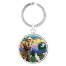 St Francis - Siamese Cat (Lilac Pt) Round Keychain