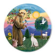 St Francis - Siamese Cat (Lilac P Round Car Magnet