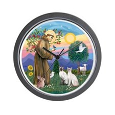 St Francis - Two Siamese Cats Wall Clock