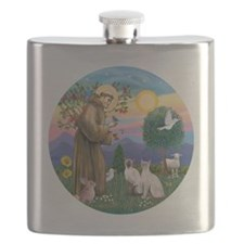 St Francis - Two Siamese Cats Flask