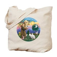 St Francis - Two Siamese Cats Tote Bag