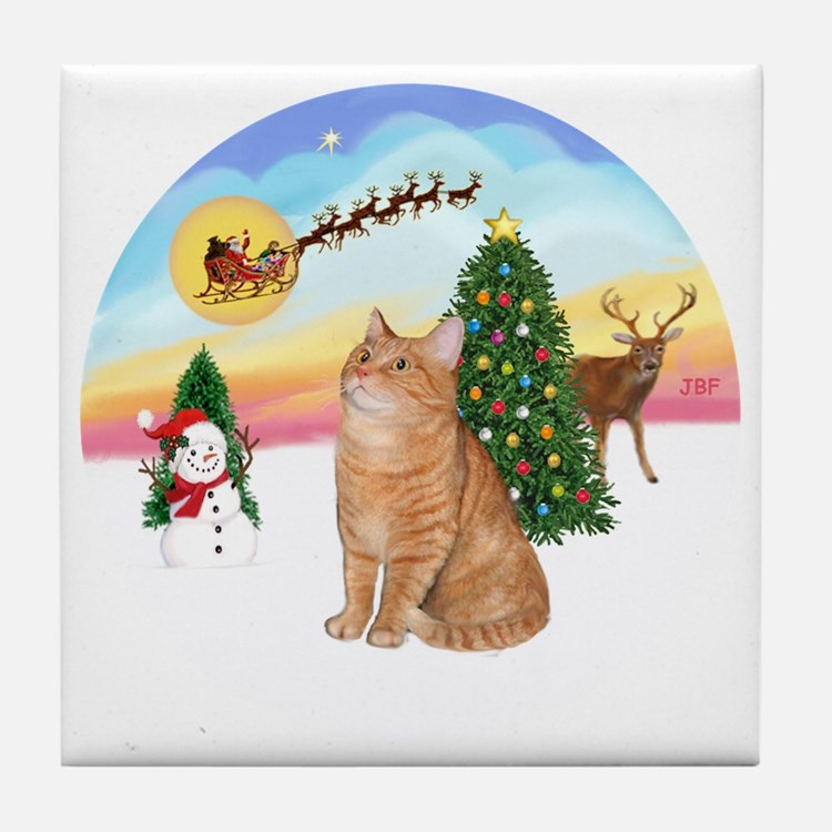 Take Off - Orange Tabby cat Tile Coaster