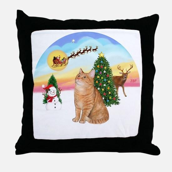 Take Off - Orange Tabby cat Throw Pillow