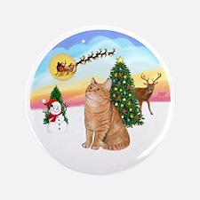 "Take Off - Orange Tabby cat 3.5"" Button"
