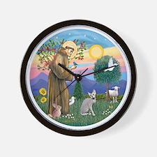 St Francis - Peterbald cat Wall Clock