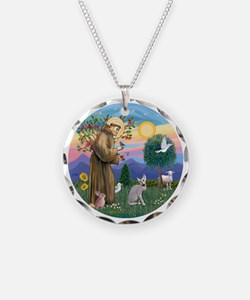St Francis - Peterbald cat Necklace