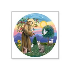 "St Francis - Tabby   White  Square Sticker 3"" x 3"""