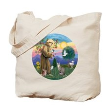 St Francis - Tabby   White Cat Tote Bag