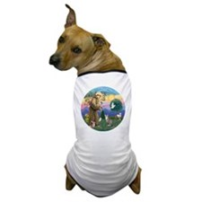 St Francis - Tabby   White Cat Dog T-Shirt