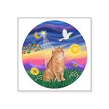 "Twilight - Orange tabby Square Sticker 3"" x 3"""