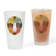 W-gold-XMusic2-Peace-Cat-SHWHite Drinking Glass