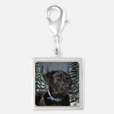 Black Lab Silver Square Charm